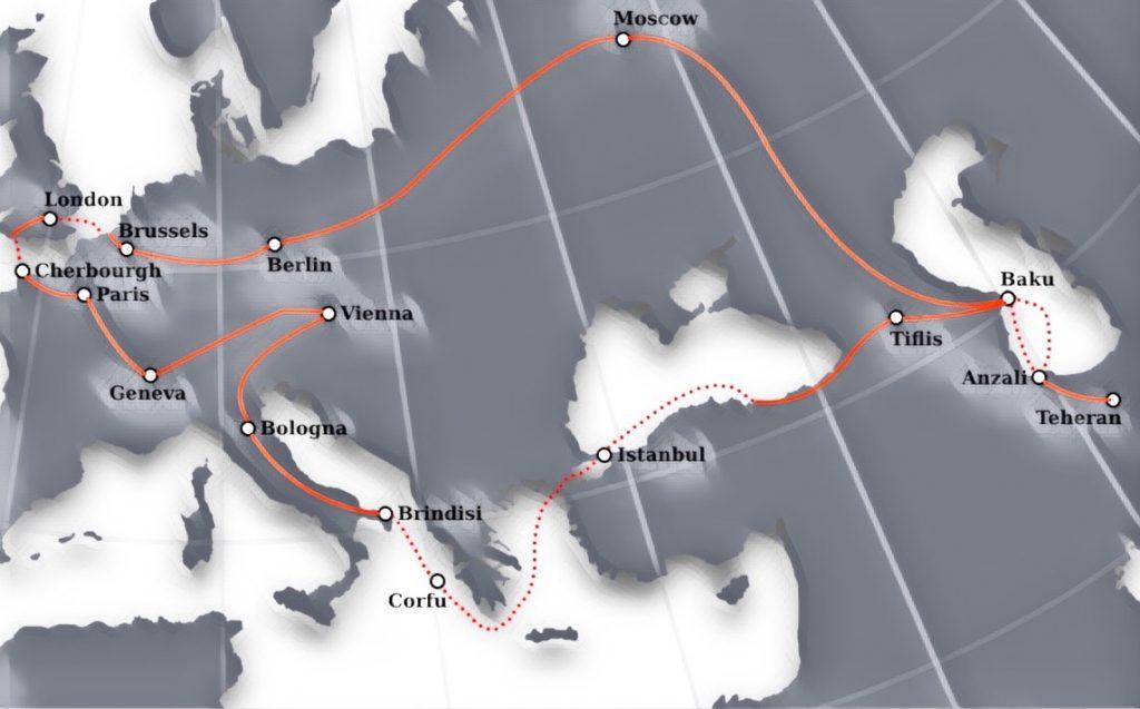 مسیر سفر ناصرالدین شاه: کار هانا شِوِنِلز