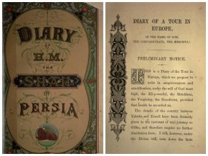 روی جلد و صفحه نخست روزنامه سفر فرنگستان ناصرالدین شاه که در ۱۸۷۴ توسط جیمز ردهاوس به انگلیسی ترجمه شد