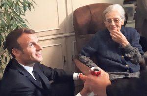 امانوئل ماکرون در دیدار با بیوه موریس آودان